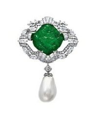 Green Carved Emerald 925 Sterling Silver Cz And Baroque Pearl Drop Fine Brooch Pin