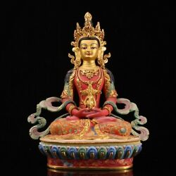 Collection Nepal Pure Copper Gilding Color Painting Longevity Buddha Statue