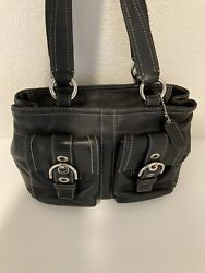 Authentic Black Leather Coach Bag Pre Owned*GREAT CONDITION $45.00