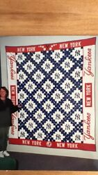 New York Yankees Hand Quilted California King. Cotton Hierloom Quilt Vintage