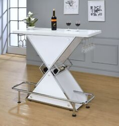 Contemporary Front Bar White High Gloss Lacquer, Bottle Storage And Stemware Rack