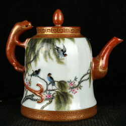 China Qing Dynasty Enamel Gold Drawing Willow And Swallow Pattern Pot
