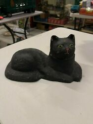 Vintage Rare Halloween Paper Mache Black Cat Glass Eyes Candy Container Jack O L