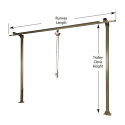 New 250 Lb. Cap Spanco Monorail System 8and039 Runway Length 12and039 Trolley