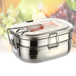 2 Layers Lunch Box Stainless Steel Thermal Bento Box Children Divided Food New $13.07