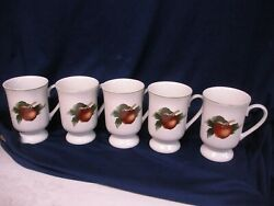 The Cades Cove Collection Apples And Cherries By Citation Footed Mugs X 5