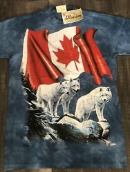 M _the Mountain Usa Dyed - Tie Dye Us T Shirts Made In Usa Flag Canadian Wolf