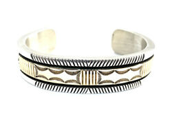 Native American Sterling Silver Navajo Handmade With 14 K Gold Cuff Bracelet