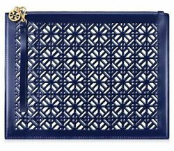TORY BURCH Navy Blue Lace PERFORATED Patent Bag WRISTLET Pouch CLUTCH NWT $29.90