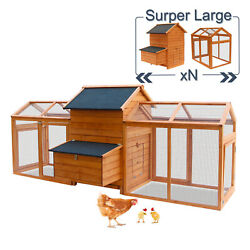 Large Chicken Coop Hen House Poultry Hutch Cage Nesting Box Ramp Run Backyard