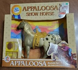 1987 Blue Ribbon Appaloosa Show Horse, Brushable Hair, Saddle And More By Hg Toys
