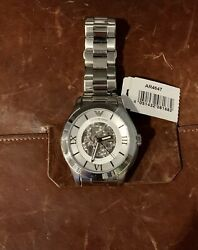 Emporio Armani AR4647 Meccanico Automatic Silver Stainless Steel Mens Watch $92.00