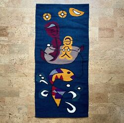 """Modernist Abstract Fisherman Wool Tapestry Wall Hanging Vintage Mid-century 40"""""""