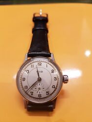 Vintage 1950's 32mm Mod Watch. Rare Railroad Track Dial. French Manufacture.