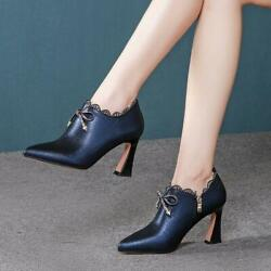 Womenand039s Fashion Leather Pointed Toe Lace Trim Bowtie High Heel Court Shoes Best