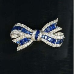 925 Sterling Silver Blue And White Cz Sparkly Bow Ribbon Brooch Pin Wedding Jewels