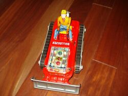 1962 The Magic Bull Dozer Battery Operated Toy W/box High Grade Works Japan