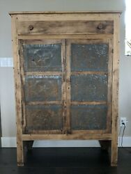 Antique Primitive Pie Safe Punched Tin Cabinet Cupboard Rustic Wood