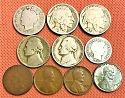 Silver Dime Indian Head / Wheat Cent Buffalo V-nickel Jefferson Nickel Coin