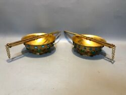A Pair China Gold Plated Copper Twig Pattern Dragon And Phoenix Bowl