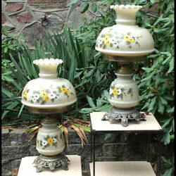 Pair Quoizel Accurate Casting Co Hurricane Daisy Gwtw Lamps Unusual Clambroth