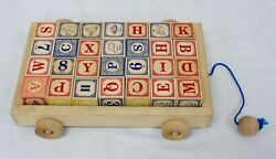 Beel Luna Toys Childand039s Wooden Pull Wagon With 28 Classic Learning Blocks