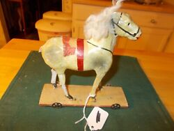 Late 1800s Early 1900s Made In Germany Papier Mache And Wood Horse Pull Toy