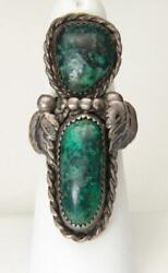 Vintage Long Sterling Silver And Double Malachite Stone Ring Size 7 Southwestern