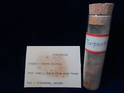 Rare Antique Vintage Glass Apothecary Bottle Drug Old Label Turpentine Contents