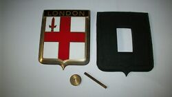 Vintage London Car Grill Enamel Badge By Drago France With Original Mounting Kit