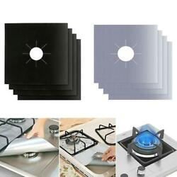 4/6/8pc With Gas Burner Cover Non-stick Boiler Burner Lining Kitchen Gas Stove