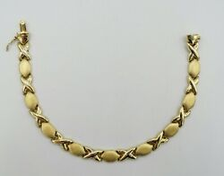 14k Yellow Gold X's And O's Link Bracelet Smooth/brushed Dia Cut 7.5 7mm 12g S545