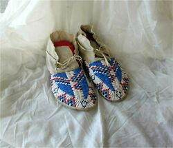 1900and039s Plains Cheyenne Indian Native American Beaded Moccasins Beads Antique