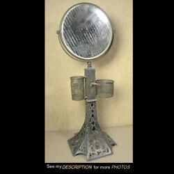 Victorian Silver Plate Shaving Stand And Mirror Eiffel Tower Pairpoint Era