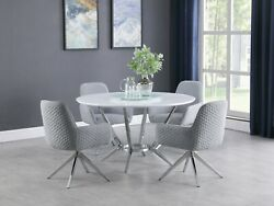 Modern 5-piece Round Dining Set Lazy Susan And Swivel Chairs High Gloss And Chrome