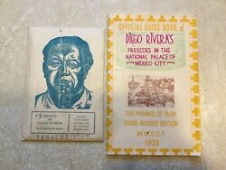 Diego Rivera 12 Frescos Postcard And Book 1953 Riviera's Frescoes National Palace