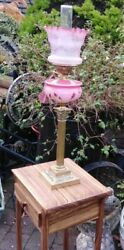 Victorian Cranberry Oil Lamp Etched Shade Outstanding