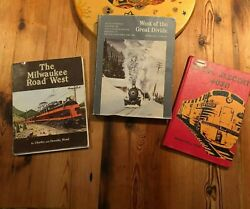 Vintage Railroad Train Books Lot Of 3 West Of The Great Divide Author Signed