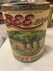Vintage Bee Brand Sweet Corn Empty Advertising Paper Label Can Country Store