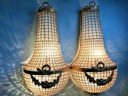 Pair Of Two Big Beautiful Sconces/wall Lamps Decorated Worldwide Free Shipping