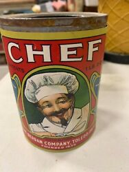 Vintage Chef Tomatoes Empty Paper Label Can Country Store Advertising 4 1/2