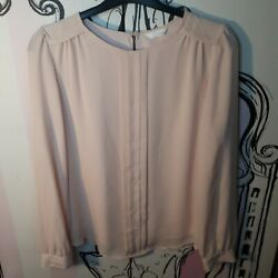 Size 10 Index Light Pink Chiffon Retro Vintage Style Long Sleeve Top Blouse