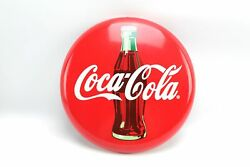 12 Commercial Refrigerator Coca Cola Round Metal Bottle Red Button Sign 2010 /1