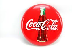 12 Commercial Refrigerator Coca Cola Round Metal Bottle Red Button Sign 2010 /2