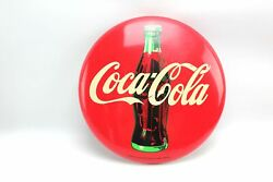 12 Commercial Refrigerator Coca Cola Round Metal Bottle Red Button Sign 1990 /5