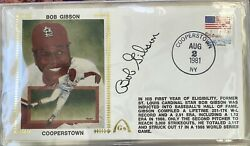 """1981 Bob Gibson Gateway Cachet Fdc Hall Of Fame Induction Auto Hof""""sold Out"""""""