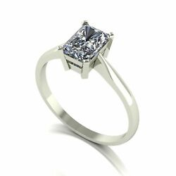 Forever One Moissanite 18ct White Gold 1.18 Carat Emerald Cut Solitaire Ring