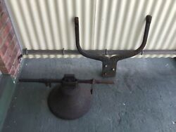 -antique Cast Iron Hand Forged Bell And Yoke - Centuries Old-