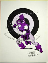 Hawkeye Print 1982 Paragon Artist George Perez And Hand Signed Bill Black Avengers
