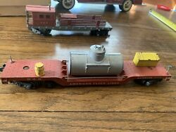 Vintage American Flyer S 948 Service Car W/ Yellow Tool Box And Barrel Cleaning